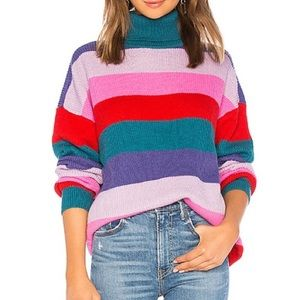 Lovers + Friends Marianne Rainbow Stripe Sweater M